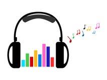 Auricular y notas coloridas del volumen y de la música Foto de archivo