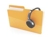 auriculares 3d y carpeta Fotos de archivo libres de regalías