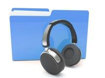 auriculares 3d y carpeta Imagen de archivo