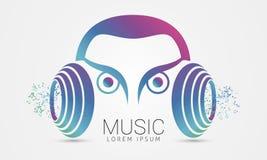 Auriculares abstractos modernos Símbolo de música Vector Imagen de archivo libre de regalías
