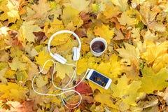 Auriculares blancos con un jugador y una taza de té y de café en un fondo de hojas amarillas Imagenes de archivo