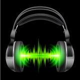 Auriculares con jugar de la música ilustración del vector