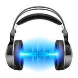 Auriculares con jugar de la música stock de ilustración