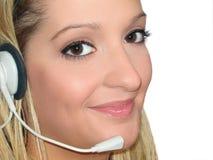 Auriculares da mulher fotografia de stock royalty free