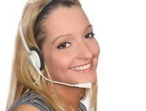 Auriculares da mulher Fotos de Stock Royalty Free