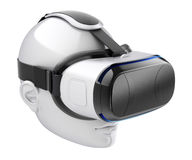 Auriculares da realidade virtual na cabeça humana branca Fotografia de Stock Royalty Free