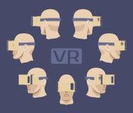 Auriculares de la realidad virtual de la cartulina en los varones ilustración del vector