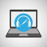 Auriculares de la tecnología de la música del ordenador portátil Fotos de archivo libres de regalías