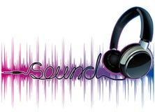 Auriculares de pulsación de neón de la música Imagen de archivo