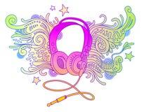 Auriculares del Doodle stock de ilustración