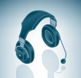 Auriculares del ordenador de los multimedia con el micrófono Fotografía de archivo libre de regalías