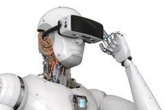 Auriculares del vr del robot de Android que llevan Imágenes de archivo libres de regalías