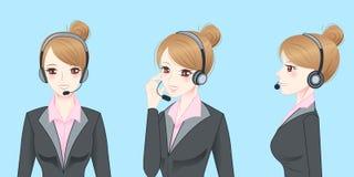 Auriculares do telefone do desgaste de mulher do negócio Imagem de Stock Royalty Free