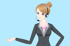 Auriculares do telefone do desgaste de mulher do negócio Imagem de Stock