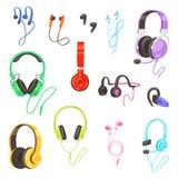 Auriculares do vetor do fones de ouvido que escutam fones de ouvido da música do som estéreo e o grupo audio moderno da ilustraçã ilustração stock