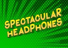Auriculares espectaculares - palabras del estilo del cómic stock de ilustración