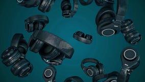 auriculares giratorios del ejemplo 3D Gray Headphones aisló en fondo del color Auriculares que caen stock de ilustración