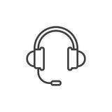 Auriculares, línea de ayuda icono, muestra del vector del esquema, pictograma linear del estilo aislado en blanco stock de ilustración