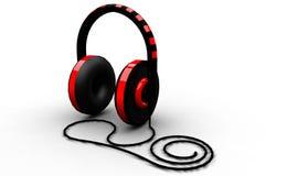 auriculares negros y rojos en el fondo blanco stock de ilustración