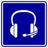 Auriculares ou auscultadores do vetor com sinal do microfone Fotografia de Stock Royalty Free
