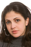 Mujer con las auriculares Fotos de archivo libres de regalías