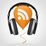 Auriculares sobre el globo con el podcast Logo Icon del RSS representación 3d ilustración del vector