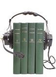 Auriculares y libros fotografía de archivo