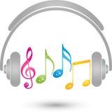 Auriculares y notas de la música, música y logotipo del sonido stock de ilustración