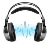 Auriculares y onda de la música. stock de ilustración