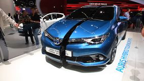 Auris Hybrid Touring Sports at the IAA 2015 stock footage