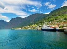 Aurland村庄 Aurlandsfjord,挪威 库存图片