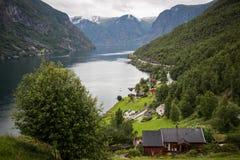 Aurland Fjord Royaltyfria Bilder