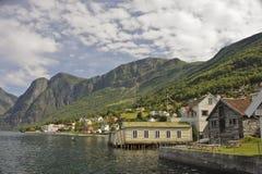 Aurland Fjordscape Imagens de Stock