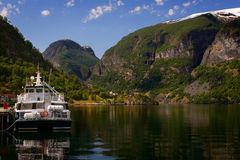 Aurland at Sognefjord in Norway Royalty Free Stock Photos