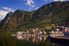 Aurland at Sognefjord in Norway. Beautiful view of a fjord in Norway Stock Photos