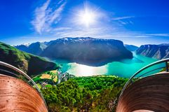 Aurlandfjord and Sognefjord from Stegastein viewpoint, Norway royalty free stock photos