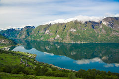 Aurlands fjord in may from Stegastein View point, Norway Royalty Free Stock Images