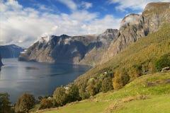 Aurlandsfjord from Aurlandsvangen Stock Images
