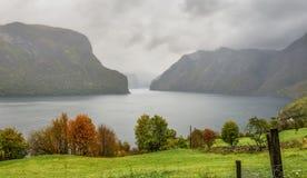 Aurlandsfjord en la niebla, cerca de Aurland, Noruega Imágenes de archivo libres de regalías