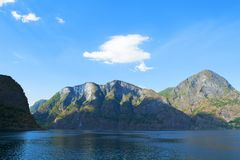 Aurlandsfjord and Naeroyfjord - UNESCO protected fjord - cruise stock photography