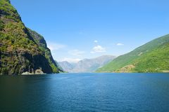 Aurlandsfjord and Naeroyfjord - UNESCO protected fjord - cruise from Flam to Gudvangen on Norway in a Nutshell Tour. stock photo