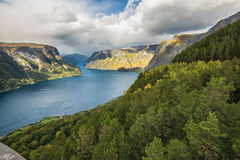Aurlandsfjord near Aurland, Sogn og Fjordane, Norway. It is located on the south side of the Sognefjorden in the district of Sogn Stock Photography