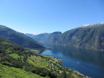 Aurlandsfjord, Norway. Aurlandsfjord Norwegian: Aurlandsfjorden is a fjord in Sogn og Fjordane county, Norway. The fjord flows through the municipalities of stock image
