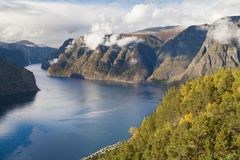 Aurlandsfjord from Stegastein Stock Photo
