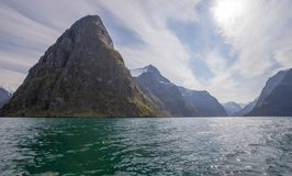 Aurlandsfjord under blue cloudy sky in early summer. Flam, Norwsy royalty free stock photos
