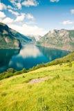 aurlandsfjorden den norway sognefjorden Royaltyfria Bilder