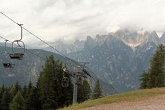 Auronzo Di Cadore, Italy: Mountain Lift In The Summer Royalty Free Stock Image