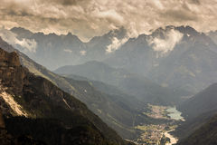 Auronzo and its valley, Dolomites, Italy. Veneto Dolomites seen from the Tre Cime di Lavaredo, Italy Stock Images