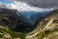 Auronzo and its valley, Dolomites, Italy. Veneto Dolomites seen from the Tre Cime di Lavaredo, Italy Royalty Free Stock Photography