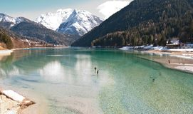 Auronzo Lake, Dolomites Mountains, Italy Stock Image